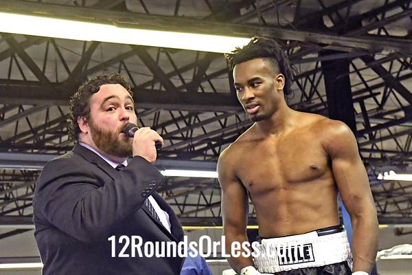 Bout 8:   Pro Boxing Kiante Irving, Red Wrist Wraps vs Turner Williams, Blue Wrist Wraps