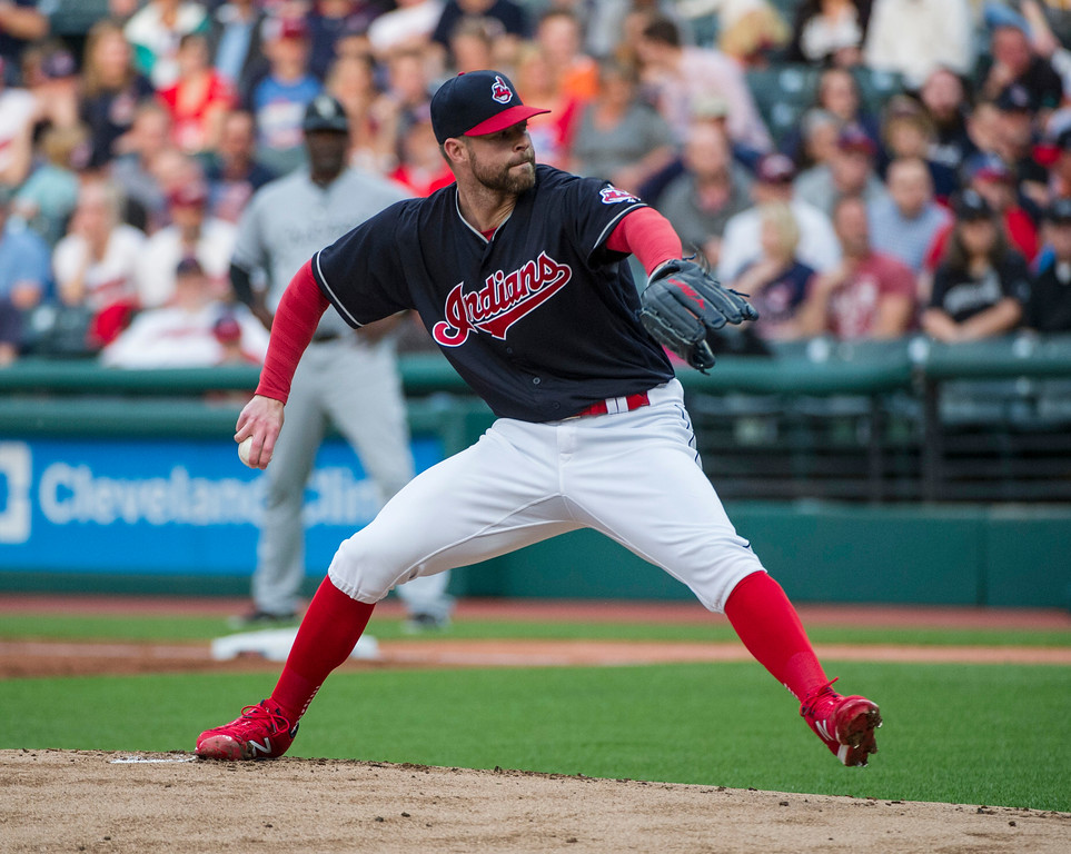 . Cleveland Indians starting pitcher Corey Kluber delivers to Chicago White Sox\'s Avisail Garcia during the first inning of a baseball game in Cleveland, Friday, June 9, 2017. (AP Photo/Phil Long)