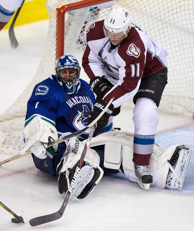 . Colorado Avalanche\'s Jamie McGinn, right, reaches for the rebound after being stopped by Vancouver Canucks\' goalie Roberto Luongo during second period of an NHL hockey game in Vancouver, British Columbia on Sunday, Dec. 8, 2013. (AP Photo/The Canadian Press, Darryl Dyck)