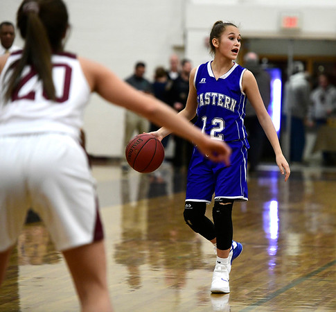 1/17/2019 Mike Orazzi | Staff Bristol Eastern's CaliRose Doyon (12) during Thursday night's girls basketball game with Bristol Central at BC.