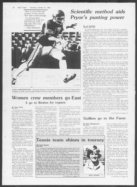 Daily Trojan, Vol. 92, No. 32, October 21, 1982