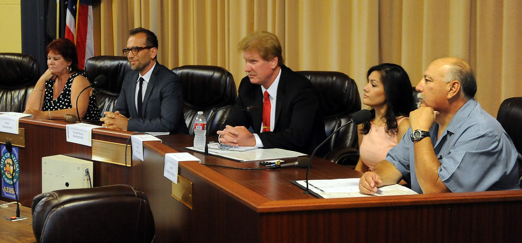 . Left to Right: Candidates Debbie Kindred, Paul Naccachian, Russell Rentschler, Linda Bermudez and Johnny Sanchez during a Azusa Unified School District candidate forum at Azusa Civic Auditorium on Tuesday, Aug. 13, 2013 in Azusa, Calif.   (Keith Birmingham/Pasadena Star-News)