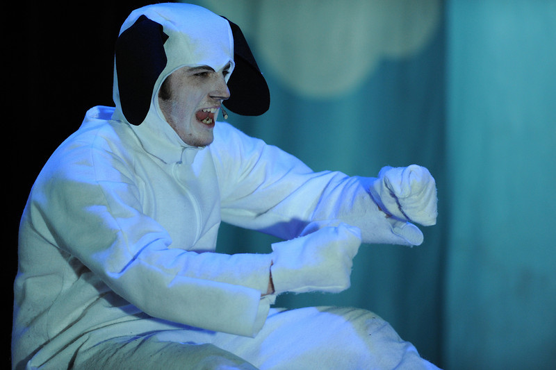 Act II underway with Snoopy in his famous World War I flying ace role. Come to think of it, the only thing this play was missing was a football.