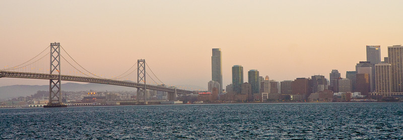 Bay Bridge and San Francisco at sunset