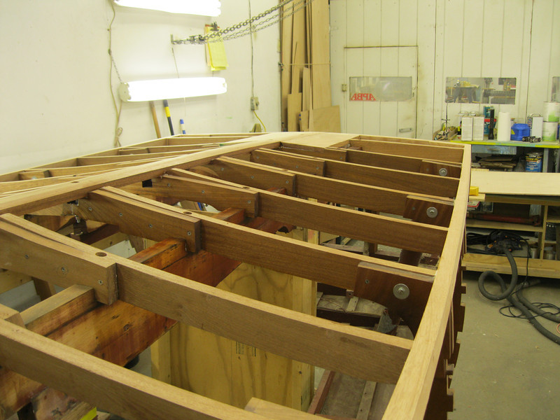 Bottom frames epoxied before the plywood skin is installed.