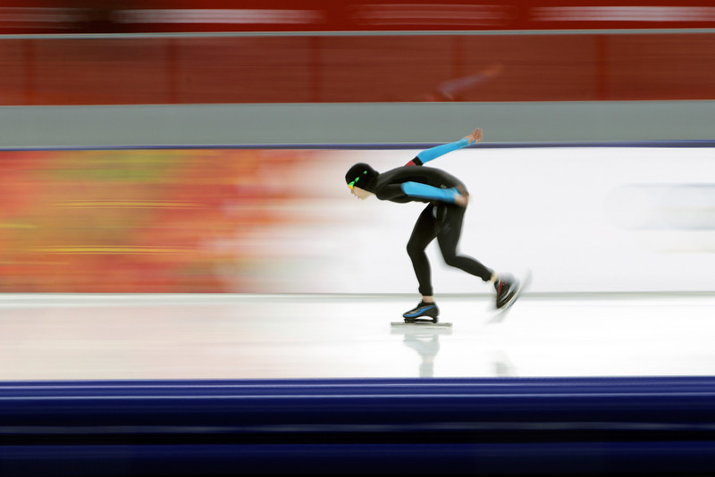 . Maria Lamb of the United States competes during the Women\'s 5000m Speed Skating event on day twelve of the Sochi 2014 Winter Olympics at Adler Arena Skating Center on February 19, 2014 in Sochi, Russia.  (Photo by Adam Pretty/Getty Images)