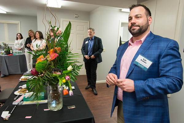 04/09/19 Wesley Bunnell | Staff New Britain Memorial - Sagariino Funeral Home hosted an after hours event on Tuesday evening for the New Britain Chamber of Commerce members. NB Chamber Interim President Kyle Kummer makes a few remarks during the event.