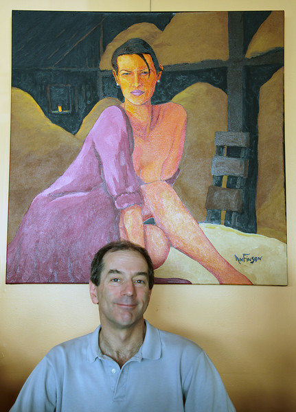 John Below a faux Gaugin painting