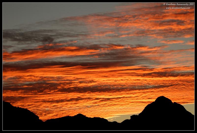 View of Elephant Head from Proctor Road Trail at sunset, Madera Canyon, Arizona, November 2011