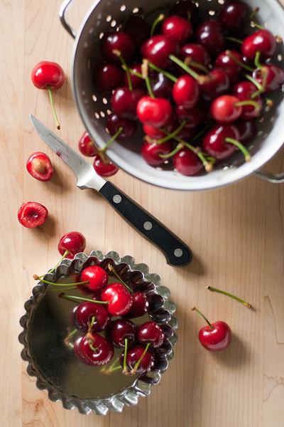 Pitting cherries.