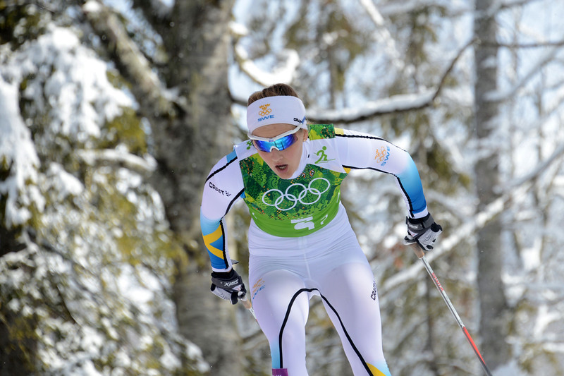 . Sweden\'s Stina Nilsson competes to win bronze in the Women\'s Cross-Country Skiing Team Sprint Classic Final at the Laura Cross-Country Ski and Biathlon Center during the Sochi Winter Olympics on February 19, 2014 in Rosa Khutor near Sochi.  (KIRILL KUDRYAVTSEV/AFP/Getty Images)