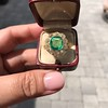 5.34ctw Emerald and Old Mine Cut Diamond Cluster Ring 1