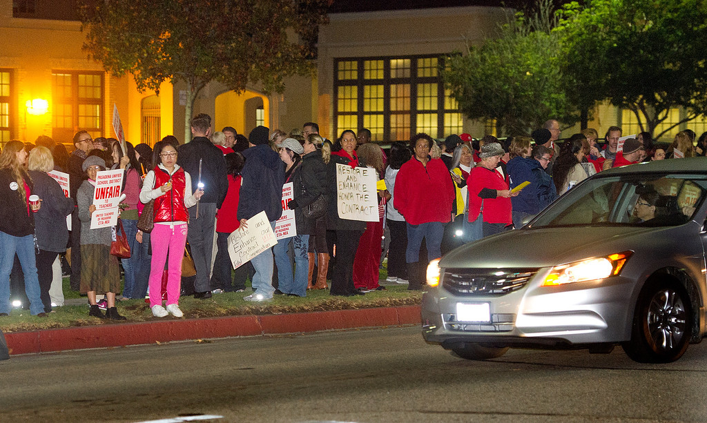 . Over 300 teachers protested in front of PUSD on Del Mar Avenue over the District-Health Care Proposal Thursday, November 21, 2013.  The protest continued inside the building at the school board meeting that was cancelled due to the disturbance.(Photo by Walt Mancini/Pasadena Star-News)