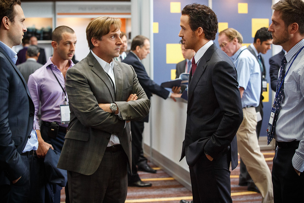 ". This photo released by Paramount Pictures shows, Rafe Spall, from left, Jeremy Strong, Steve Carell, Ryan Gosling and Jeffry Griffin in the film, ""The Big Short.\"" The film was nominated for an Oscar for best picture on Thursday, Jan. 14, 2016. The 88th annual Academy Awards will take place on Sunday, Feb. 28, at the Dolby Theatre in Los Angeles. (Jaap Buitendijk/Paramount Pictures via AP)"