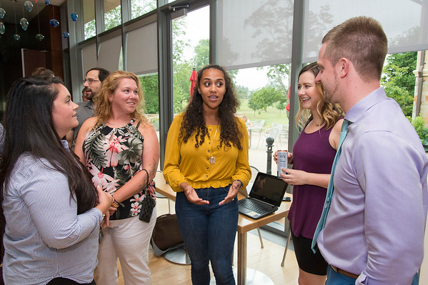 07/18/19 Wesley Bunnell | Staff The Buzz held a networking event at the New Britain Museum of American Art on Thursday July 18, 2019. The group consists of young professionals in New Britain, Plainville and Berlin and gives them a chance to connect with peers. Marcella Jalbert, L, Mallory Deprey, President of The Buzz Kaylah Smith, Giselle Ziegler and Albert Tomasso.