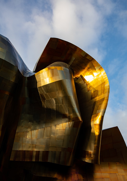 Sun reflecting on the EMP Museum in Seattle