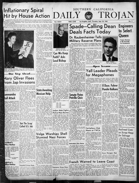 Daily Trojan, Vol. 34, No. 5, September 24, 1942