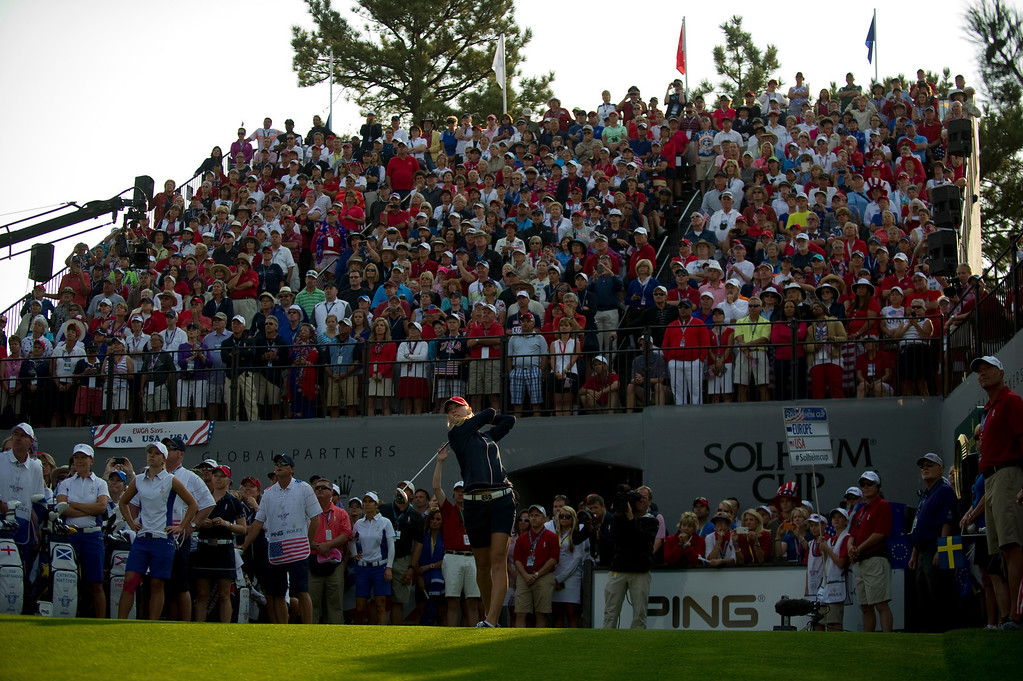 . PARKER, CO - AUGUST 16: American Jessica Korda tees off on the first hole during the first day of the Solheim Cup at Colorado Golf Club, on August 16, 2013.  (Photo By Grant Hindsley/The Denver Post)