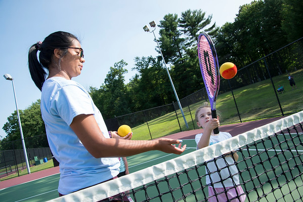 07/08/19 Wesley Bunnell | Staff The Bristol Parks & Recreation department is holding tennis lessons for children ages 4-7 every Monday and Wednesday afternoon through the first week of August at Page Park. Instructor Joanne Le works with Lucy Papazian, age 4.