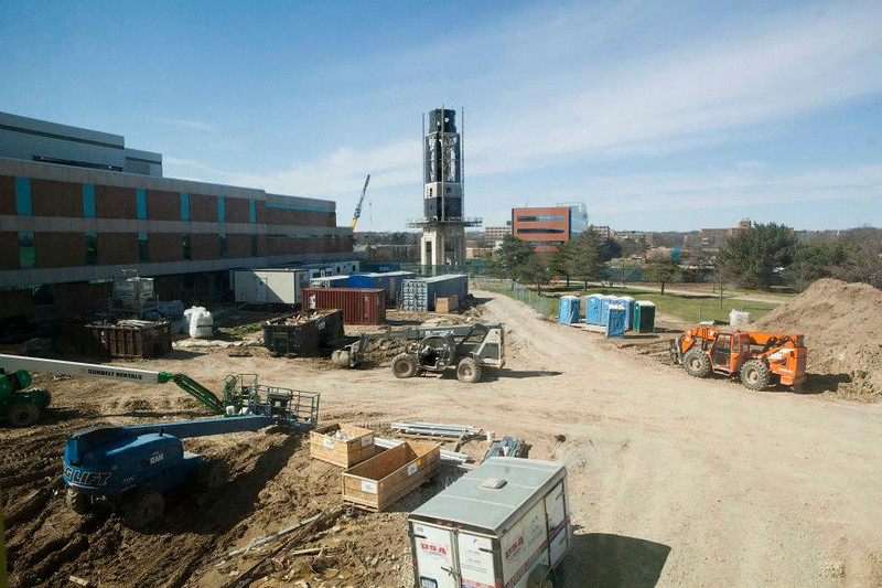 . A view of the Elliott Tower from the engineering building. (Photo by Jason Willis/Oakland University)