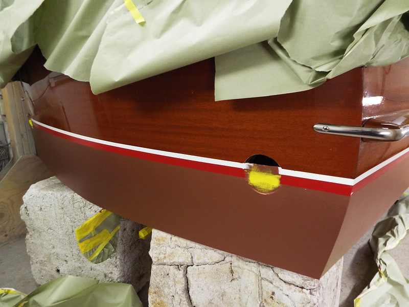 Completed transom water line.