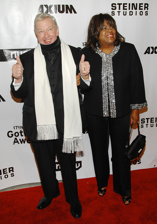 . Film critic and honoree Roger Ebert, left, and his wife Chaz Hammelsmith Ebert attend the 17th Annual Gotham Awards at Steiner Studios, Tuesday, Nov. 27, 2007 in New York.  (AP Photo/Evan Agostini)