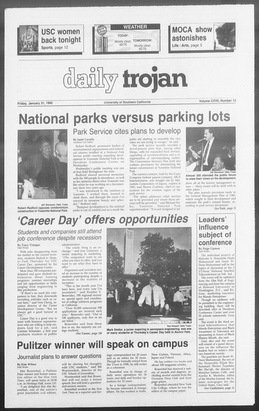 Daily Trojan, Vol. 117, No. 12, January 31, 1992
