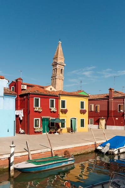 Burano Canal with Leaning Tower of Church of San Martino, Fondamenta della Pescheria, Venice, Veneto, Italy