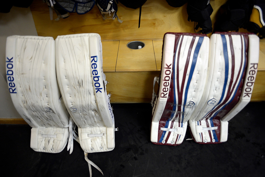 . Colorado Avalanche goalie pads are propped up in the locker room on the first day of Avalanche rookie camp September 8, 2013 at Family Sports. (Photo by John Leyba/The Denver Post)