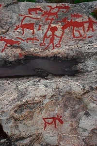 Prehistoric rock carving in Naemforsen, Sweden