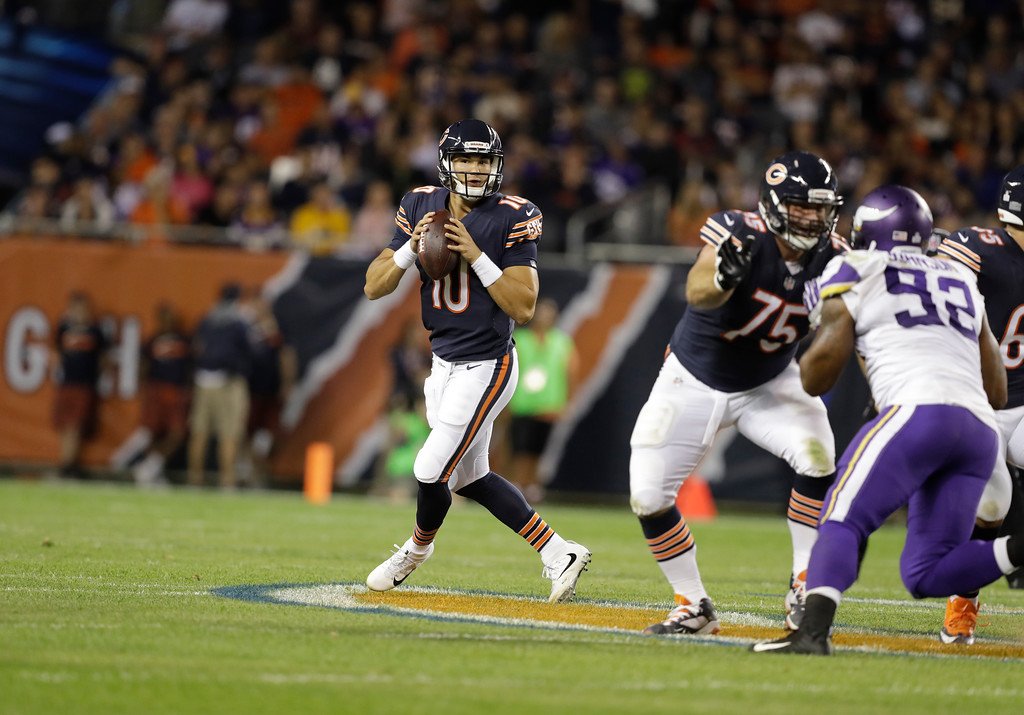 . Chicago Bears quarterback Mitchell Trubisky (10) looks for a receiver during the first half of an NFL football game against the Minnesota Vikings, Monday, Oct. 9, 2017, in Chicago. (AP Photo/Darron Cummings)
