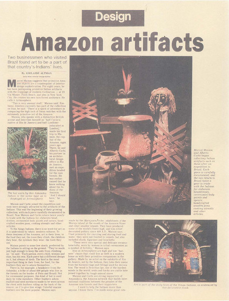 artmosphere the old days, article in palm beach daily news about marcel maison's exbiditions up the amazon rivier supplying medical equipment to tribe and brought back feather dresses for the  gallery.