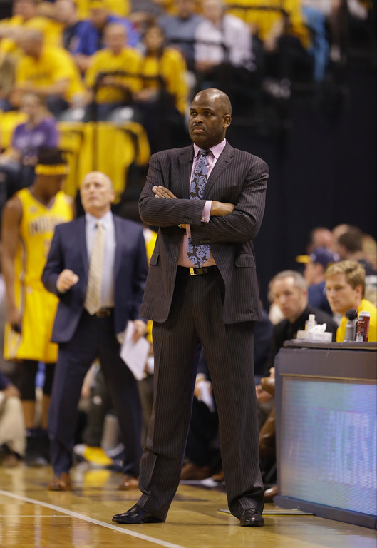 . Indiana Pacers head coach Nate McMillan watches during the first half in Game 3 of a first-round NBA basketball playoff series against the Cleveland Cavaliers, Thursday, April 20, 2017, in Indianapolis. (AP Photo/Michael Conroy)