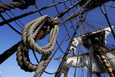In the rigging of a tall ship