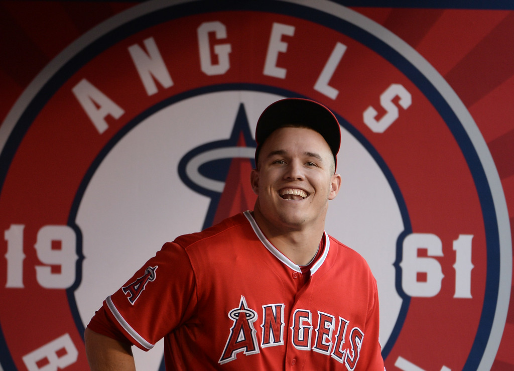 . Los Angeles Angels\' Mike Trout smiles on his birthday prior to a baseball game against the Los Angeles Dodgers at Anaheim Stadium in Anaheim, Calif., on Thursday, Aug. 7, 2014.  (Photo by Keith Birmingham/ Pasadena Star-News)