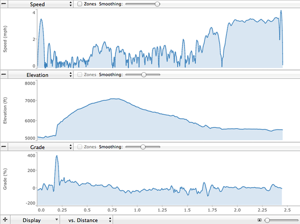 tracks from my Garmin Forerunner 205.  Note the steep climb at the beginning in the middle graph of elevation vs. distance