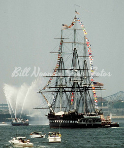 "the USS CONSTITUTION on her way back...MassPort boat, ""Howard W. Fitzpatrick"" doing the play out..."