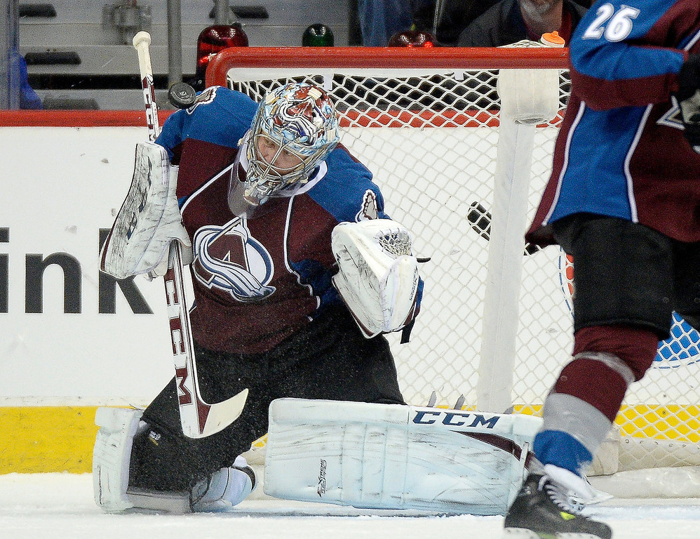 . Colorado Avalanche goalie Semyon Varlamov (1) makes a save during the first period against the Ottawa Senators January 8, 2014 at Pepsi Center. (Photo by John Leyba/The Denver Post)