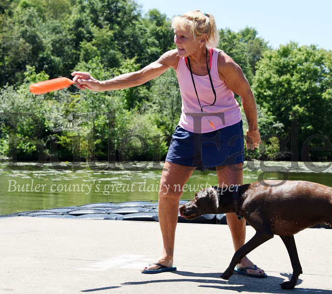 Harold Aughton/Butler Eagle: Ann Cheman of Harmony and a retired Seneca Valley school teacher, trains her dog, Kaylee, a German Shorthair Pointer, Monday afternoon at Moraine State Park.
