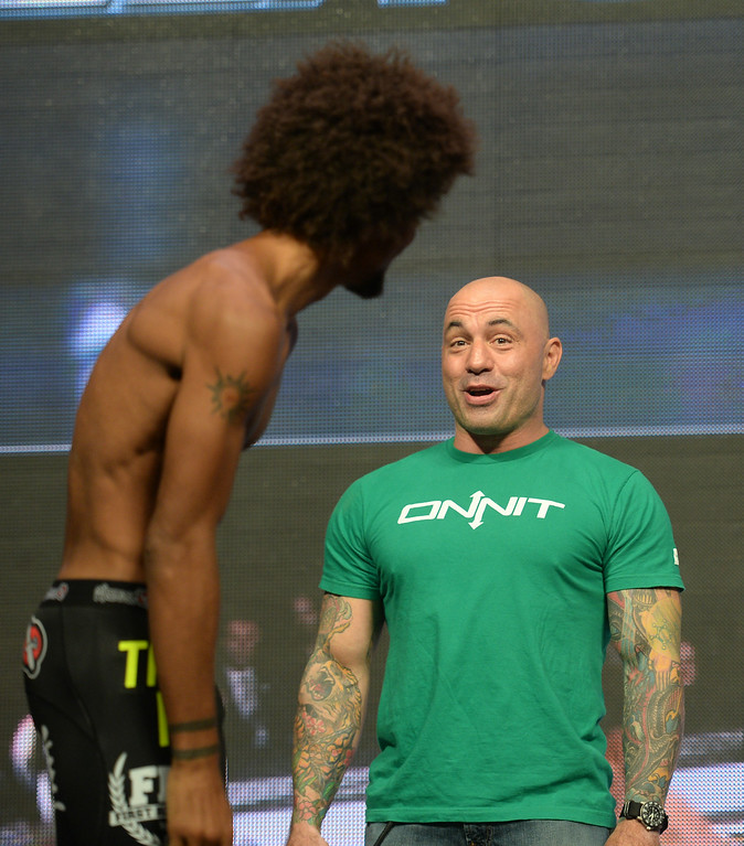 . Alex Caceres and Joe Rogan during weigh ins for UFC 175 at the Mandalay Bay Events Center July 4, 2014. (Photo by Hans Gutknecht/Los Angeles Daily News)