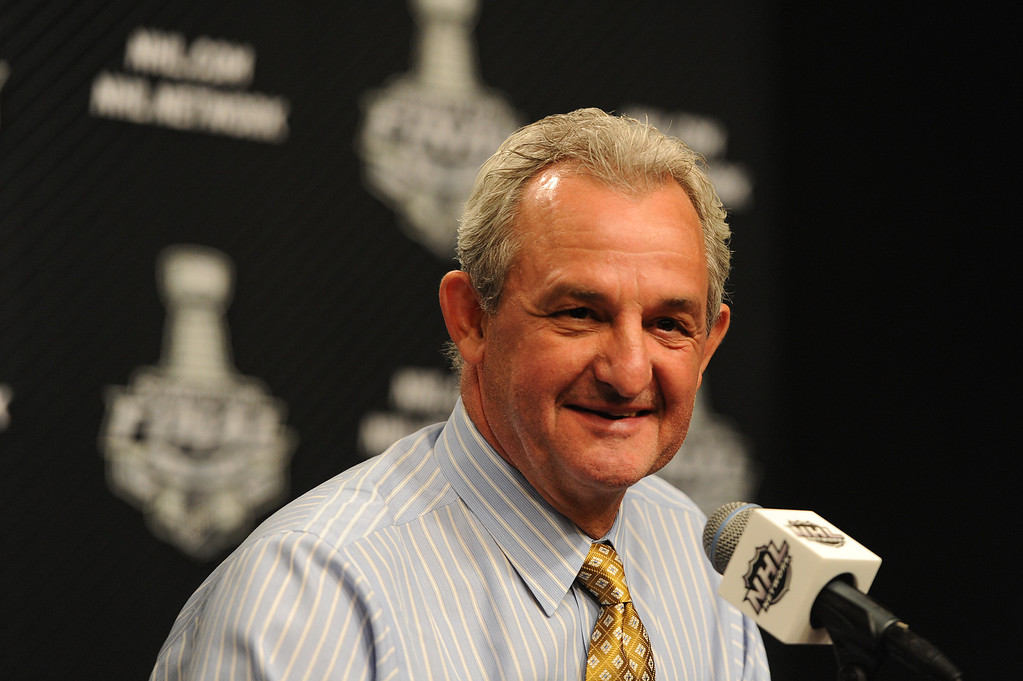 . Head Coach Darryl Sutter after the Los Angeles Kings defeated the New York Rangers in game 2 of the Stanley Cup Final.  Los Angeles, CA. 6/7/2014(Photo by John McCoy Daily News)