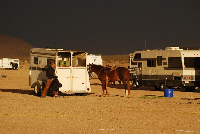 Scene from Dark Desert, Man and Horse