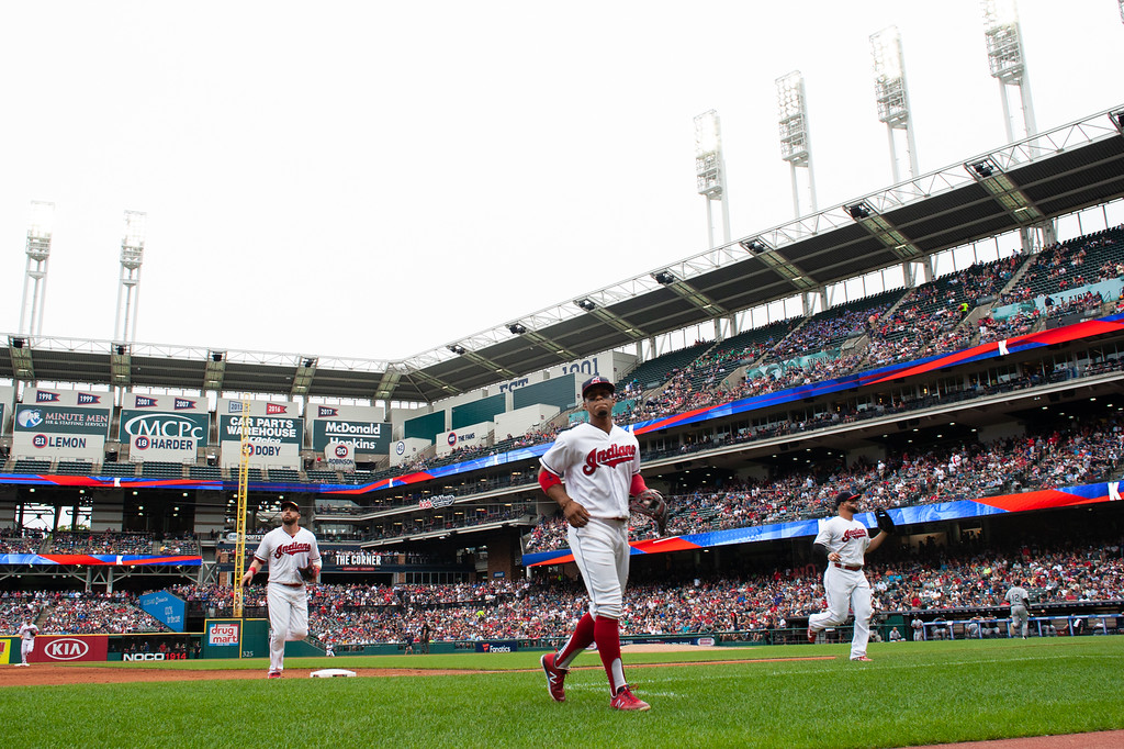 . Fracisco Lindor of the Cleveland Indians comes off the field during a regular season game against the Chicago White Sox at Progressive Field on June 20, 2018. The Indians defeated the Sox 12-0. (The Morning Journal/Michael Johnson)