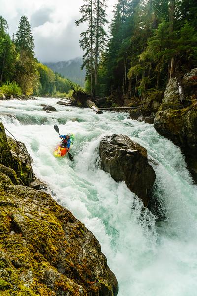 Luke Partidge runs the right line on the Upper Cheakamus waterfall near Whistler, British Columbia.