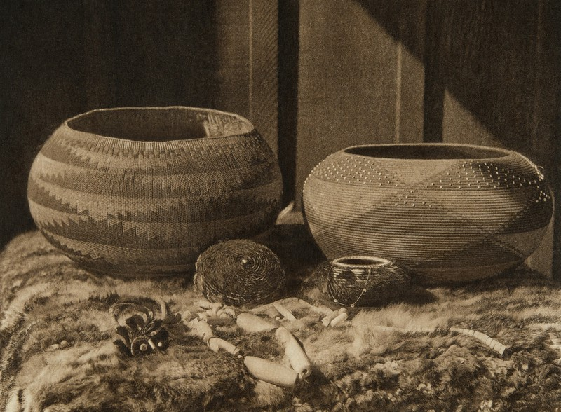 Pomo baskets and magnesite beads (The North American Indian, v. XIV. Norwood, MA, The Plimpton Press, 1924)