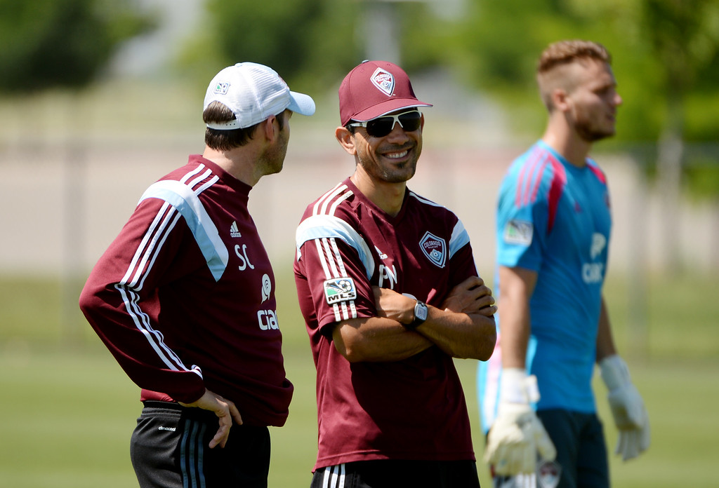 . Colorado Rapids head coach Pablo Mastroeni, center, is talking with assistant coach Steve Cooke, left, during the team practice at the practice field of Dick\'s Sporting Goods Park. Commerce City, Colorado. July 03. 2014.  (Photo by Hyoung Chang/The Denver Post)