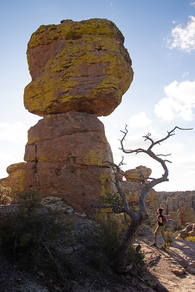 Hiking beneath rhyolite hoodoos in the Chiricahua Mountains in Arizona.