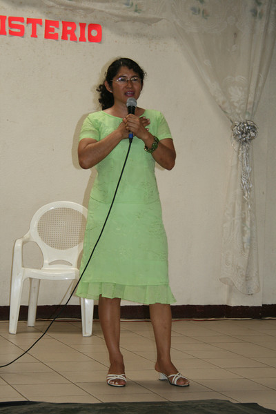 Master of Ceremonies Abigail Mercado encouraging all to attend National Ladies Day meeting the following day