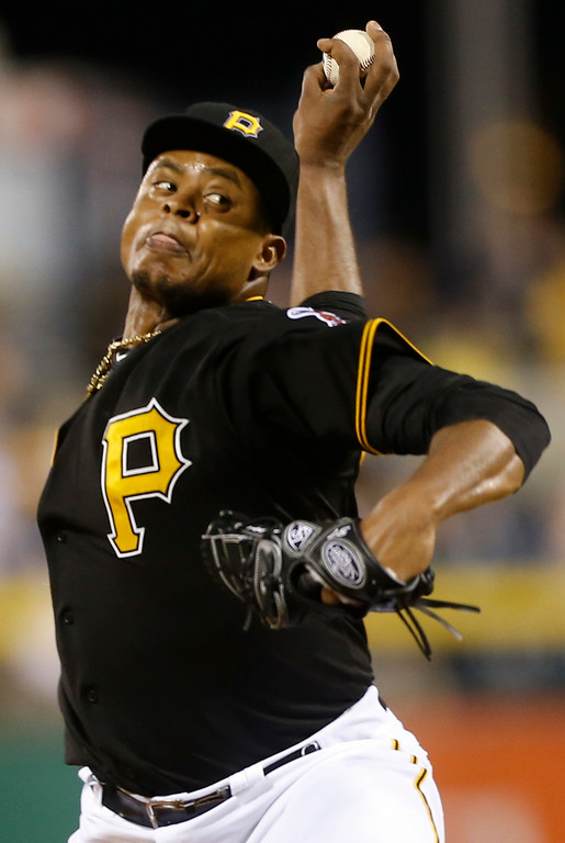 . Pittsburgh Pirates starting pitcher Edinson Volquez plays in the baseball game against the against the Detroit Tigers on Tuesday, Aug. 12, 2014, in Pittsburgh. (AP Photo/Keith Srakocic)