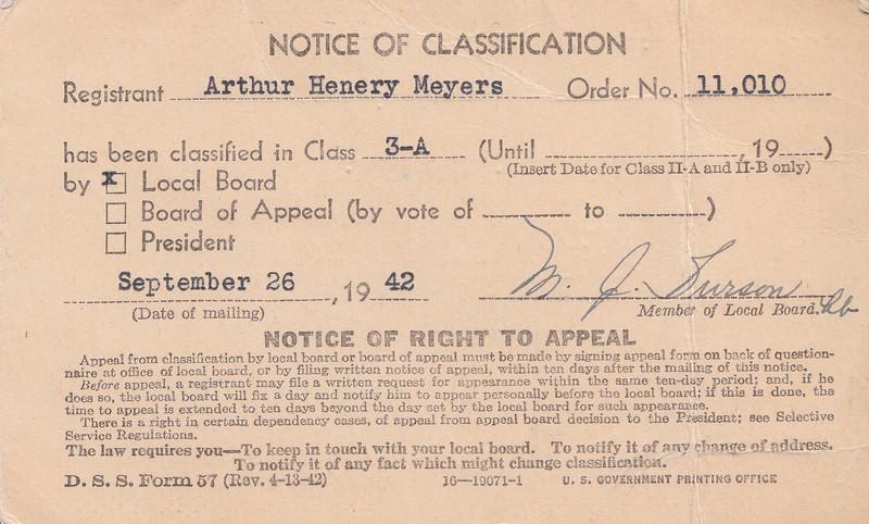 Arthury Meyers - Selective Service card_Sept 26, 1942 (a).jpg